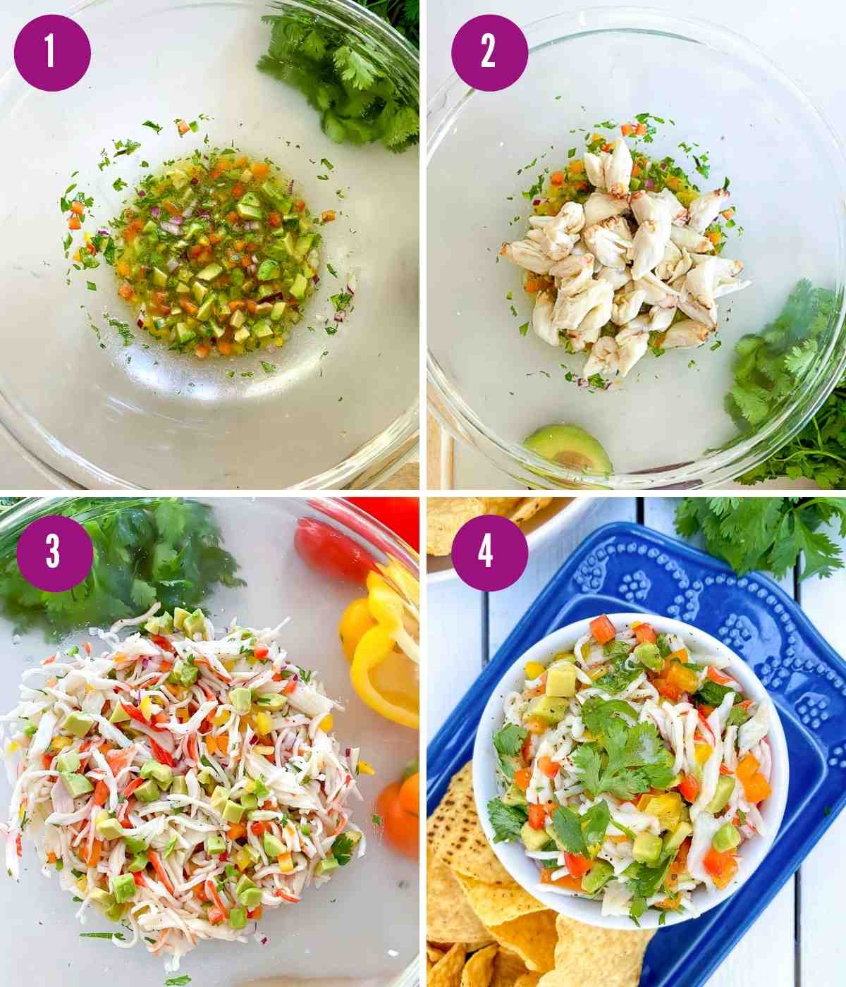 Steps showing how to prepare crab ceviche.