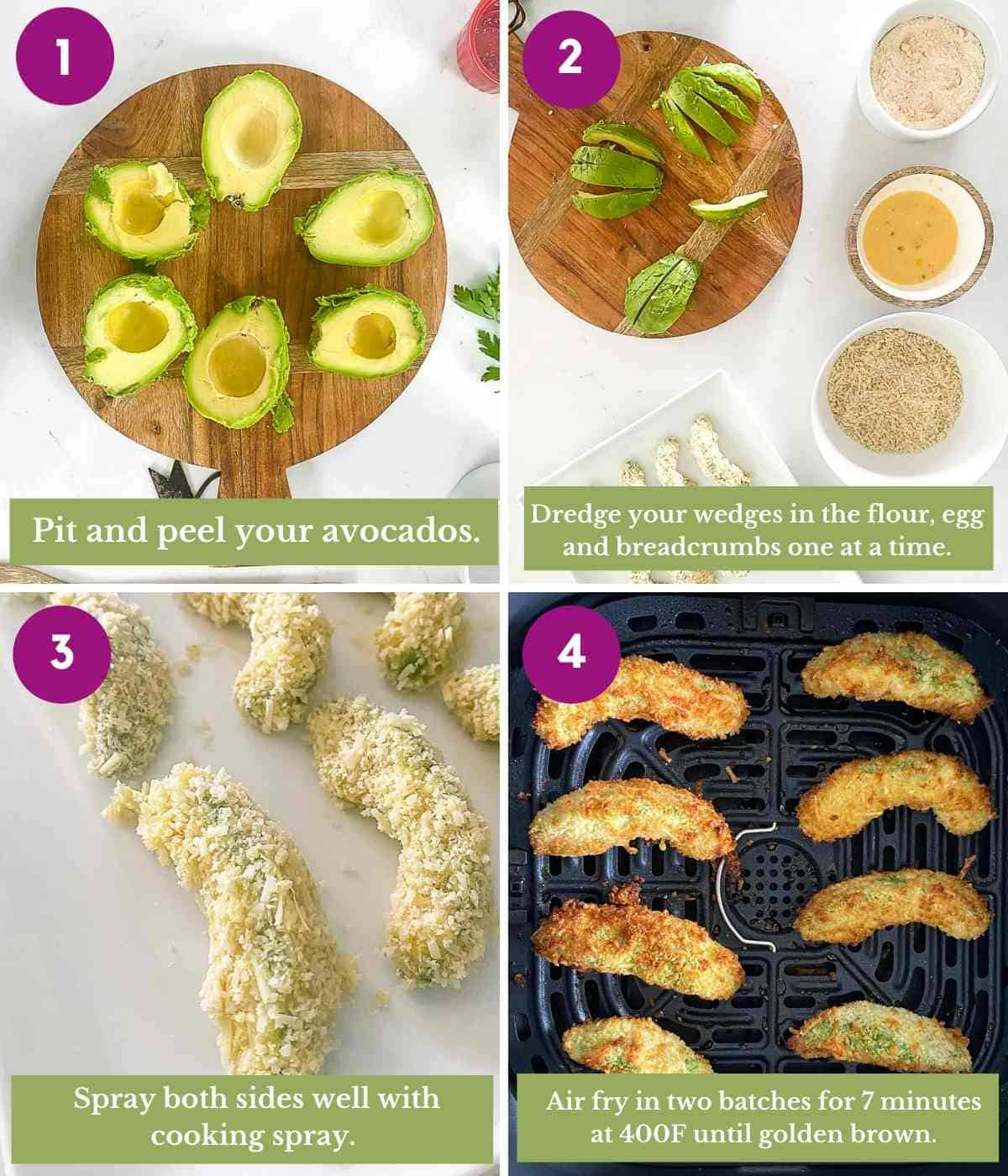 Steps showing how to make avocado fries using an air fryer.
