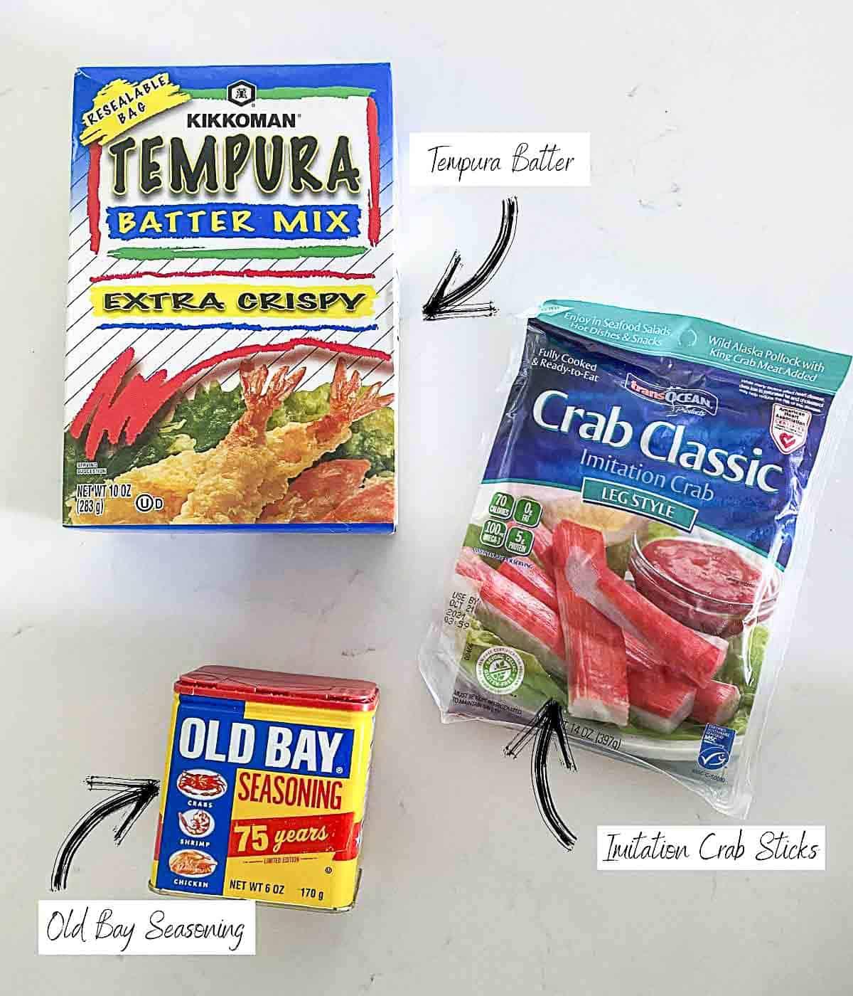 Ingredients to make fried krab sticks.