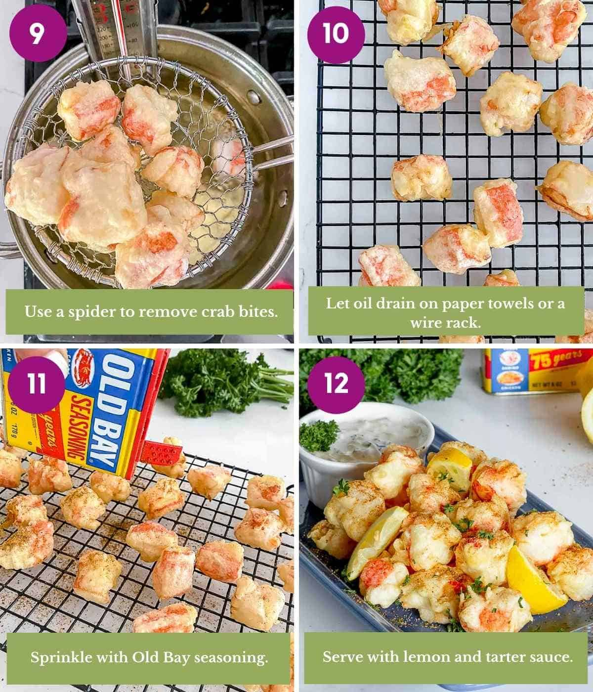 Steps showing how to drain fried crab imitation crab sticks and season them.