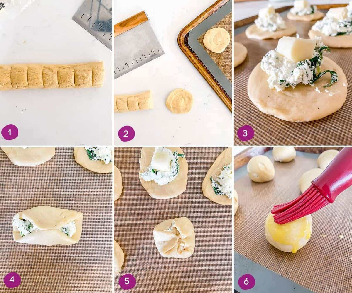 Steps for how to stuff and bake mini calzones.