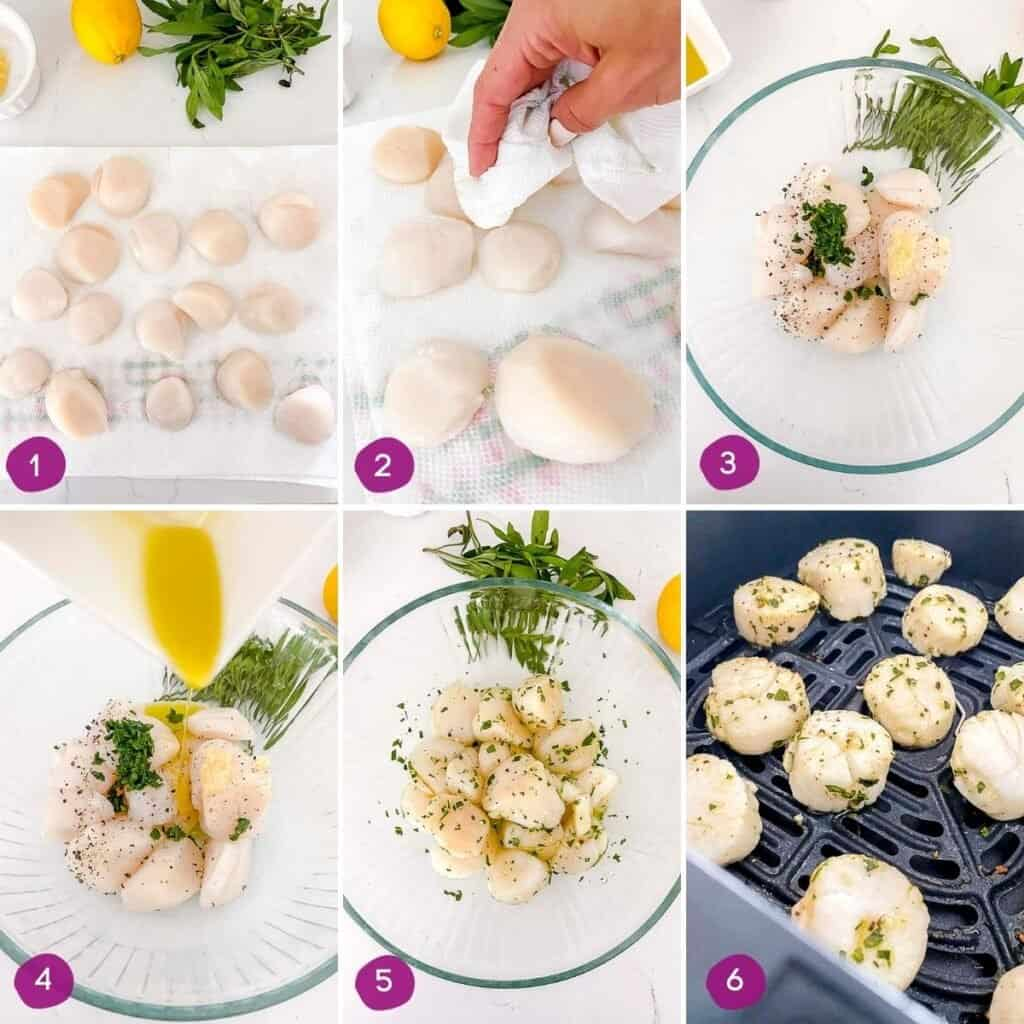 Steps for how to air fry scallops.