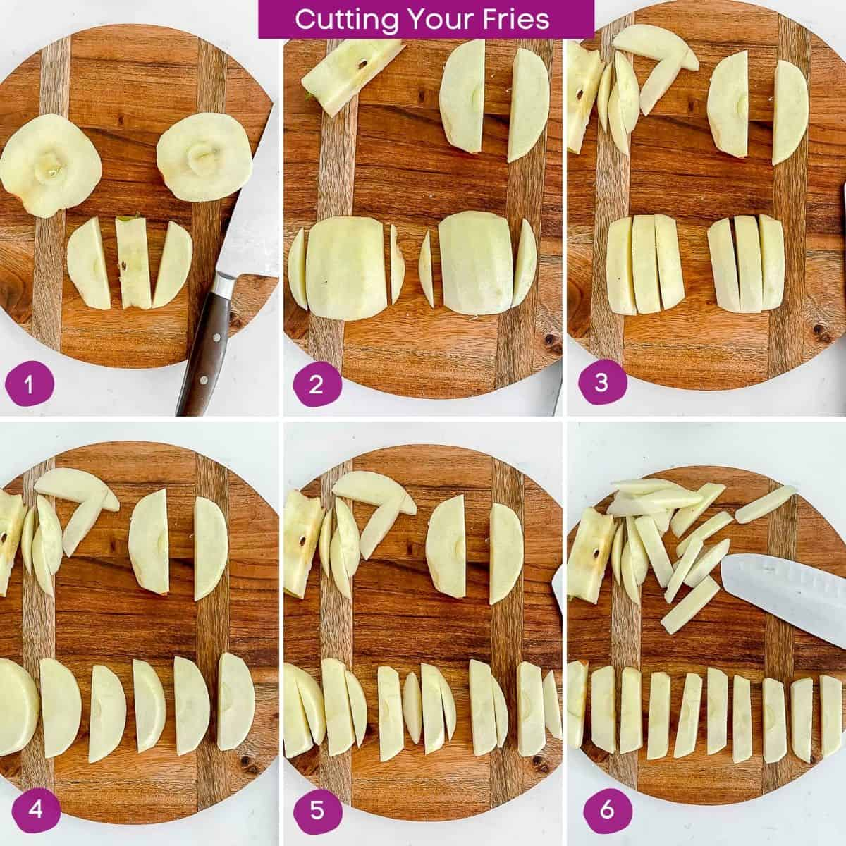 Steps showing how to cut apple fries on cutting board.