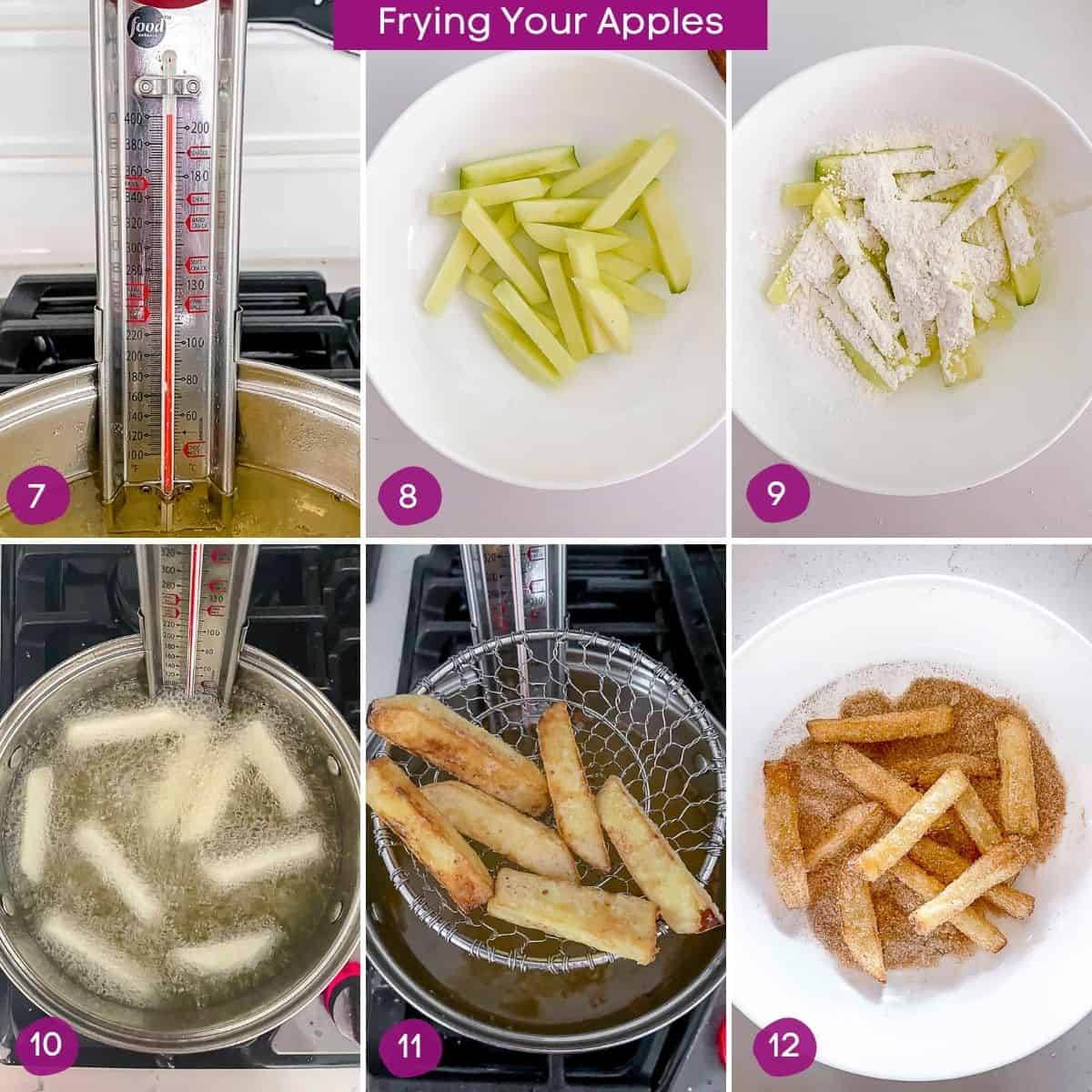 Steps showing how to deep fry apple fries in oil.