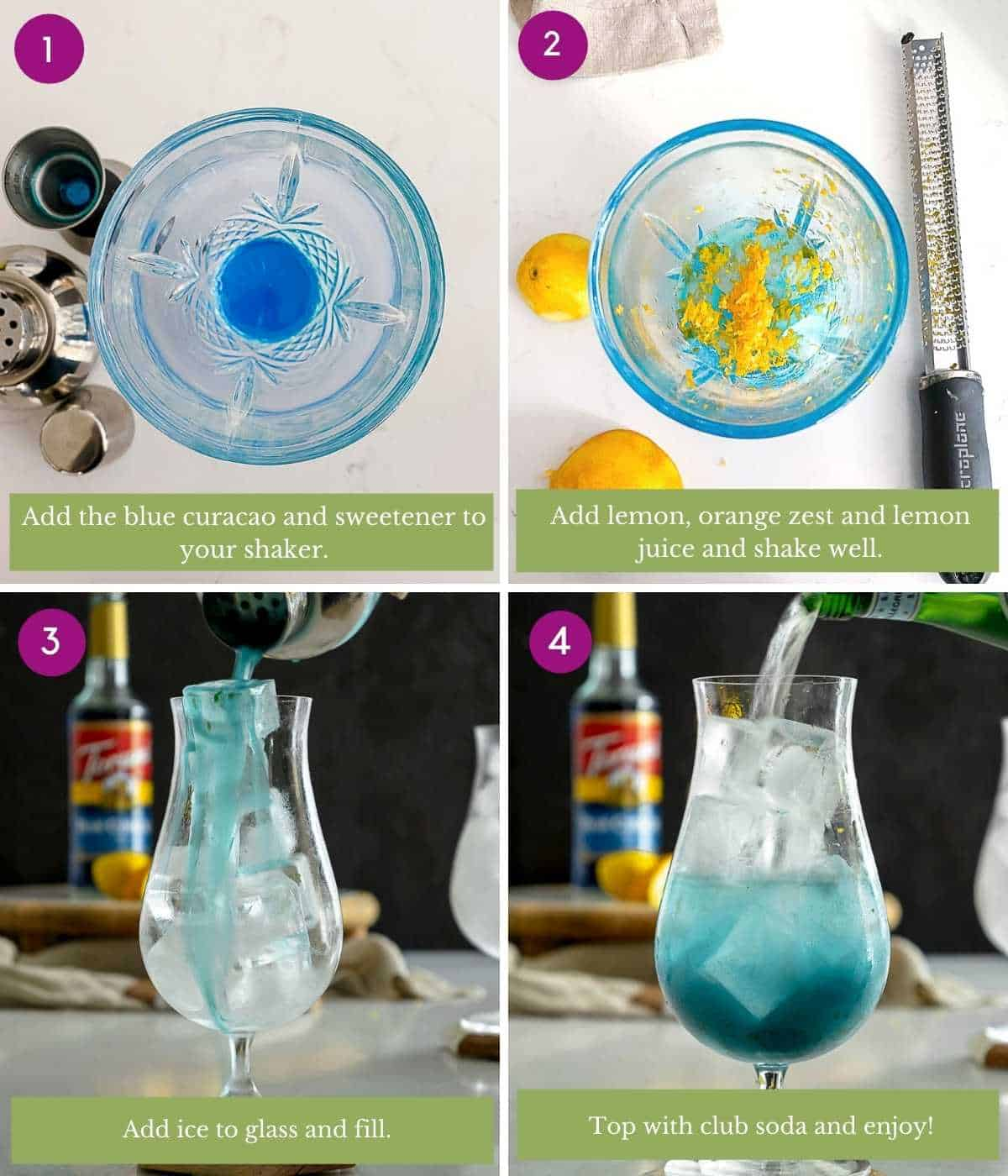 Steps for how to make a virgin blue lagoon mocktail.