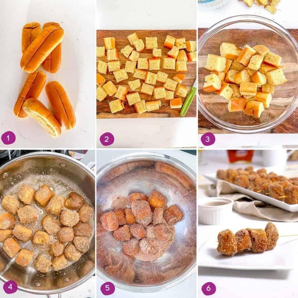 Steps showing how to make mini cinnamon sugar French toast bites.