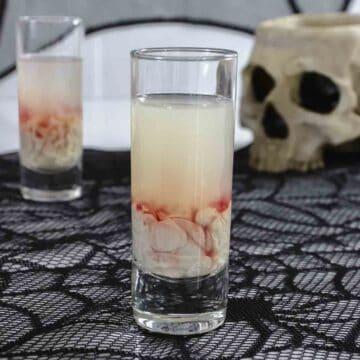 Monkey brain shot on table with skull.