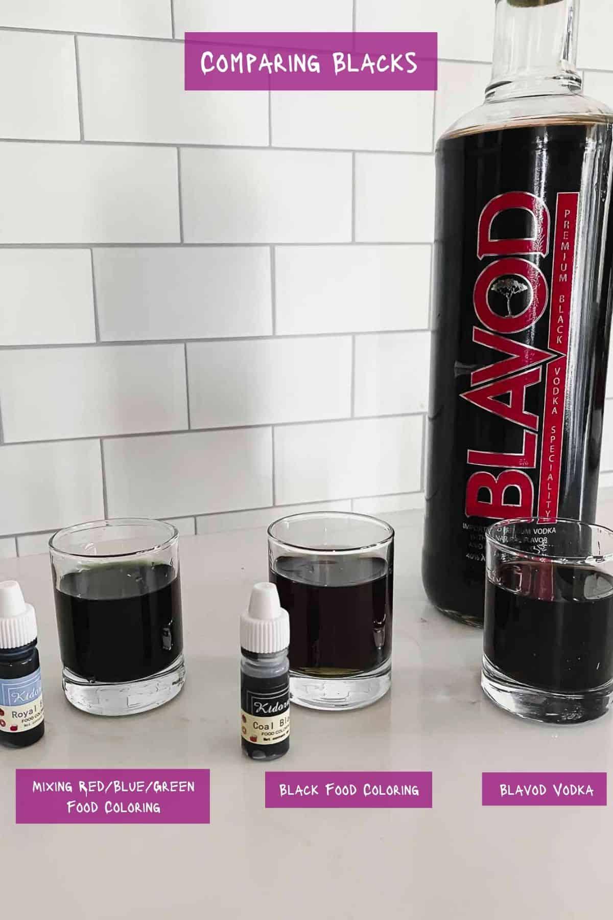 Comparing black vodka in shot glasses.