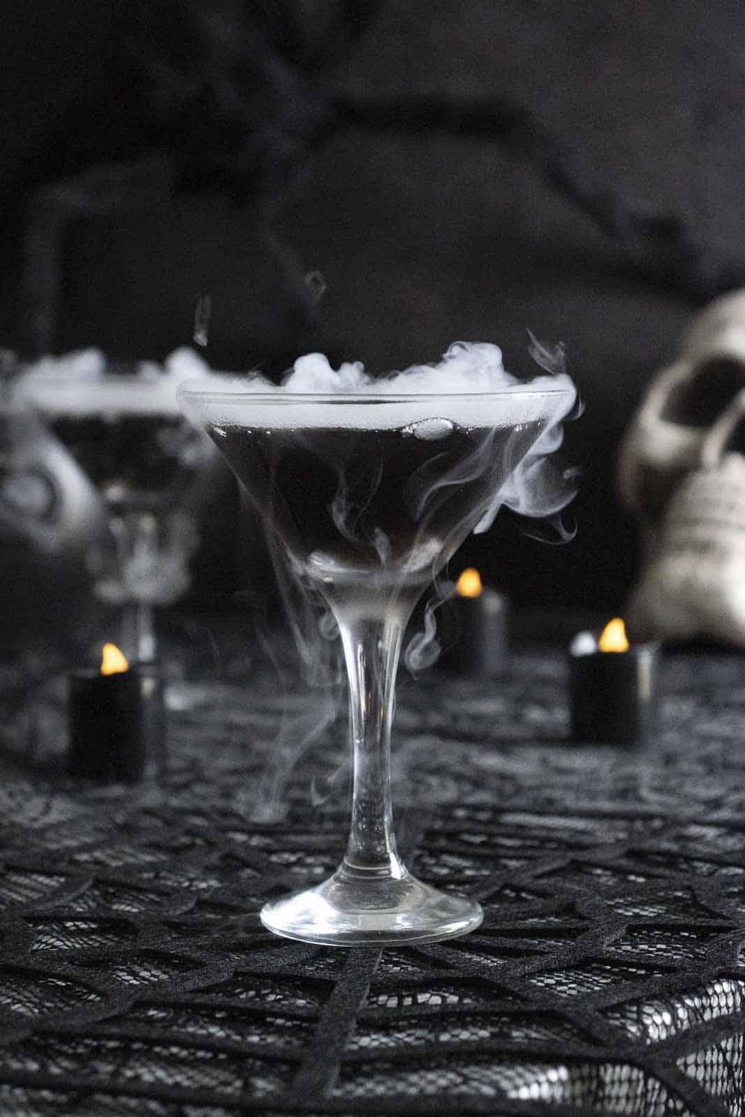 Spooky dry ice martini using black Blavod vodka.